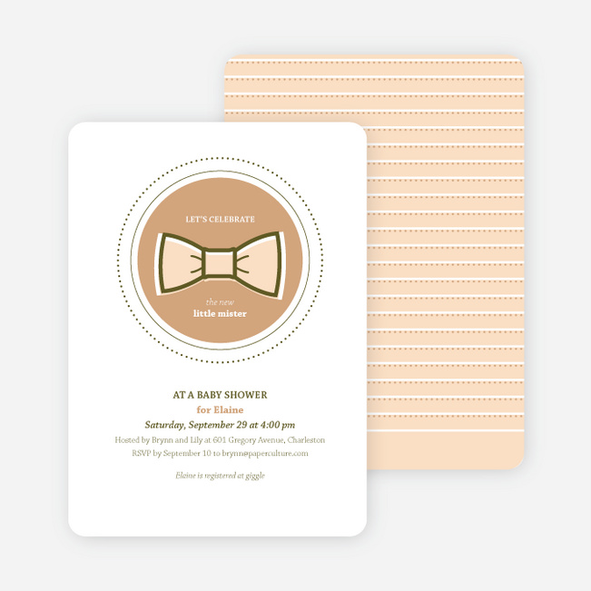 The Bowtie and the New Little Mister Baby Shower Invitations - Orange