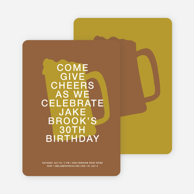 Cheers Invitations - Chocolate Porter