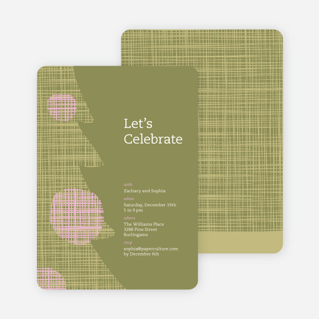 Modern Christmas Tree Themed Party Invitations - Olive Green