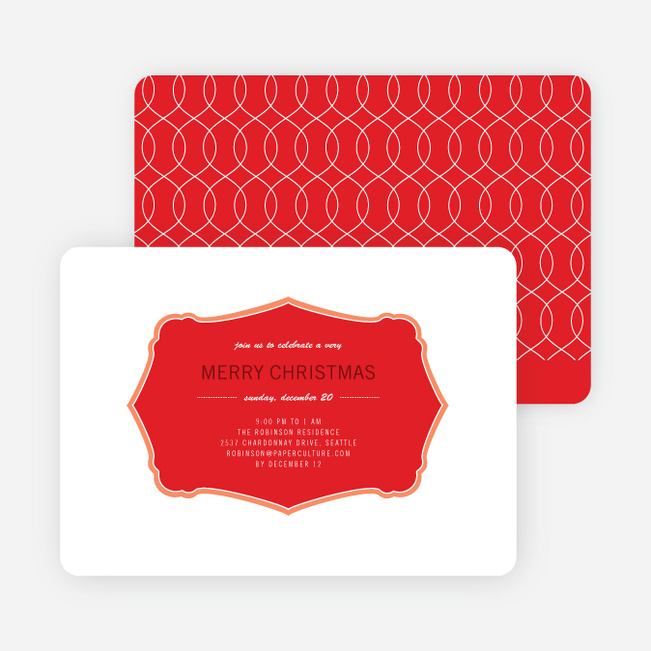 Wrapping Paper Holiday Invitations - Persimmon