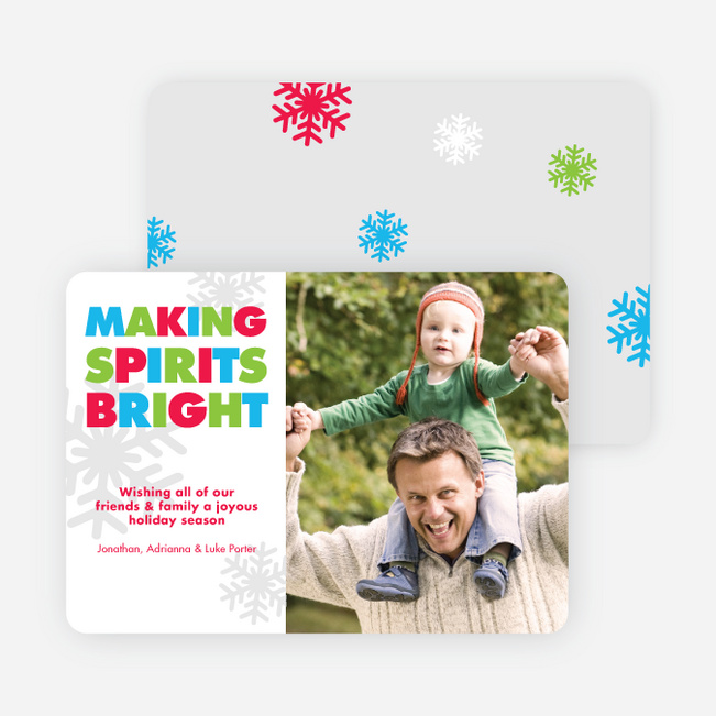 Making Spirits Bright Snowflake Holiday Card by giggle - Multi