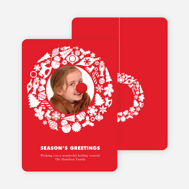 Wreath Plethora Holiday Photo Cards - Cardinal Red