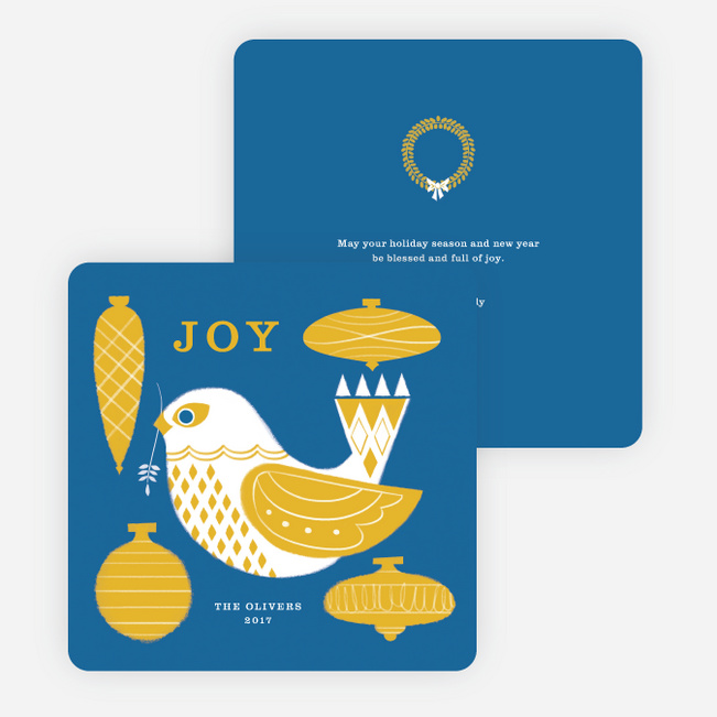 Bird Decor Holiday Cards - Blue