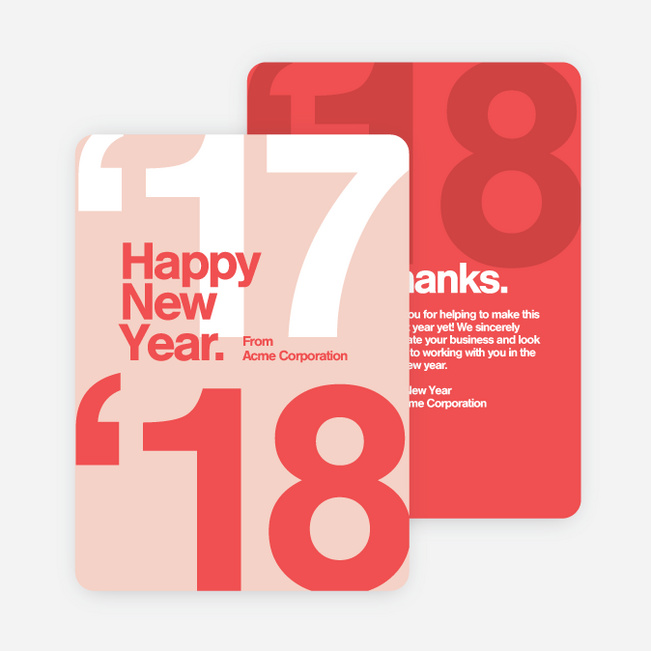 Bold Beginnings Corporate New Year Cards - Red
