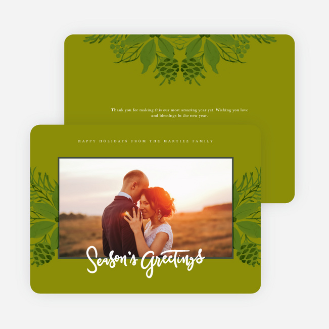 Festive Floral Holiday Cards - Green