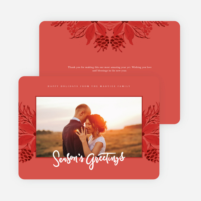 Festive Floral Holiday Cards - Red