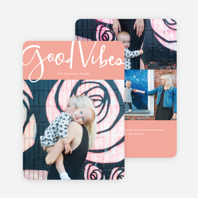 Good Vibes Holiday Cards - Pink