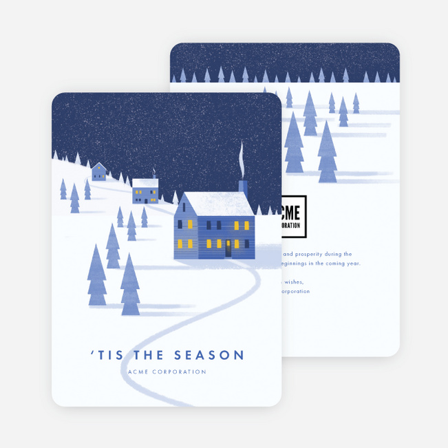 Winter Greetings Company Holiday Cards   Blue