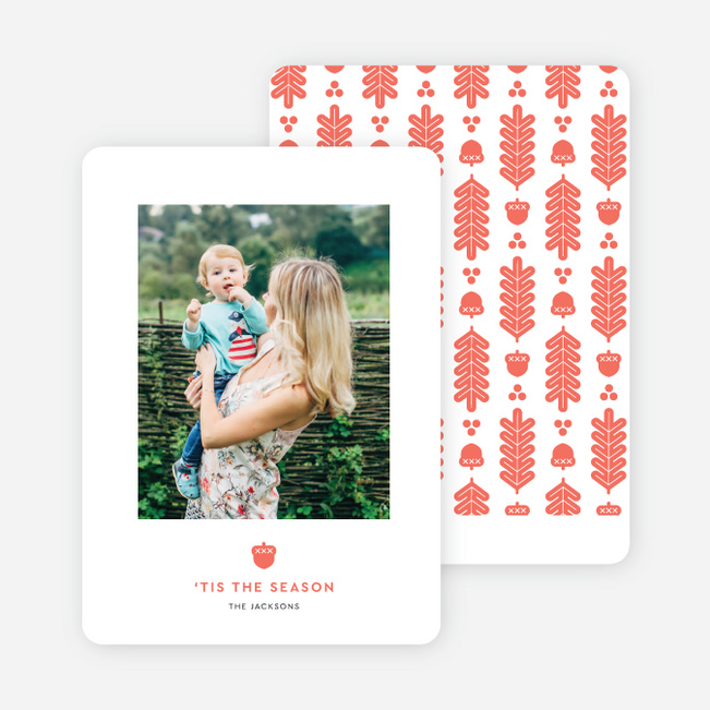 Acorn Crest Holiday Cards - Red