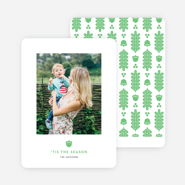 Acorn Crest Holiday Cards - Green