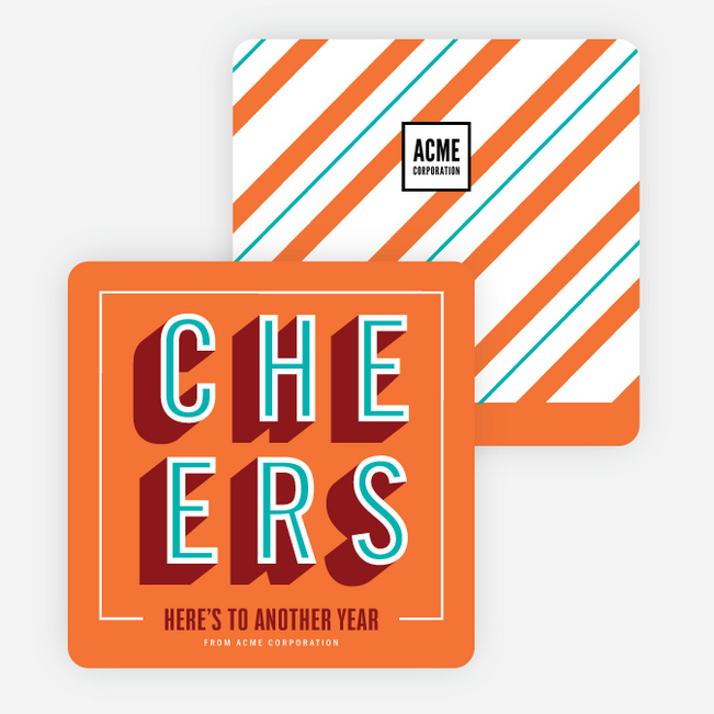 Cheers Recognition Corporate Holiday Cards - Orange