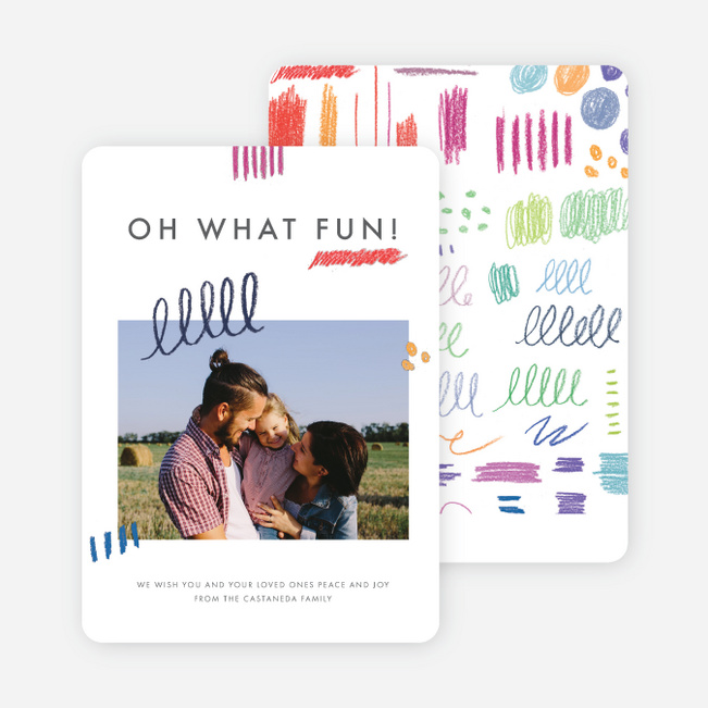 Colorful Doodles Holiday Cards - Gray