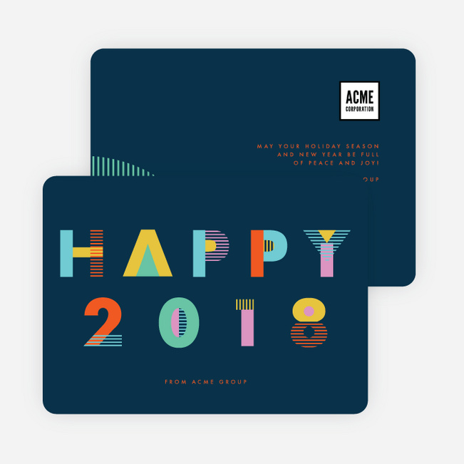 Future Wishes Corporate New Year Cards - Blue