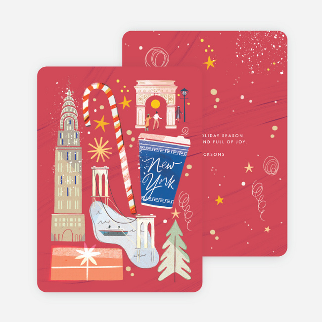 New York Collage Holiday Cards - Red