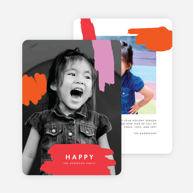 Paint Splash Holiday Cards - Red