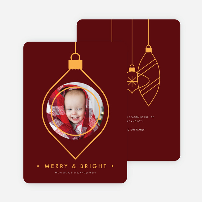Photo Ornaments Christmas Cards - Red
