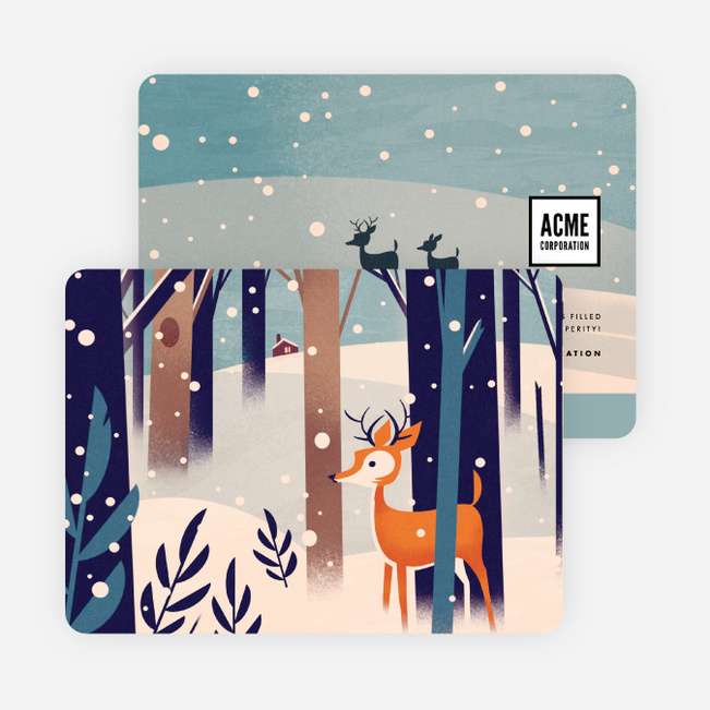 Snowfall Corporate Holiday Cards - Multi