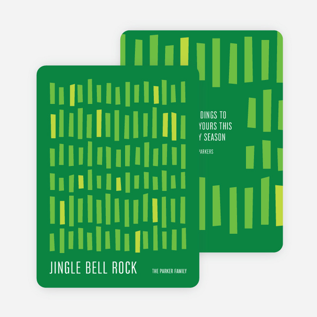 Staggered Lines Holiday Cards - Green