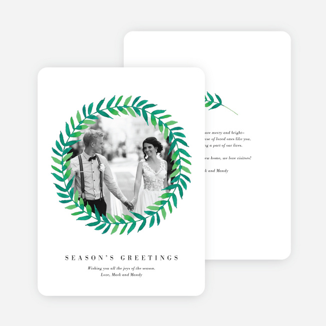 Circle of Leaves Holiday Cards - Black