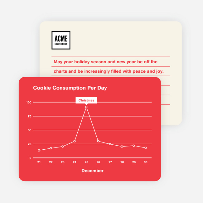 Cookie Graph Corporate Holiday Cards - Red