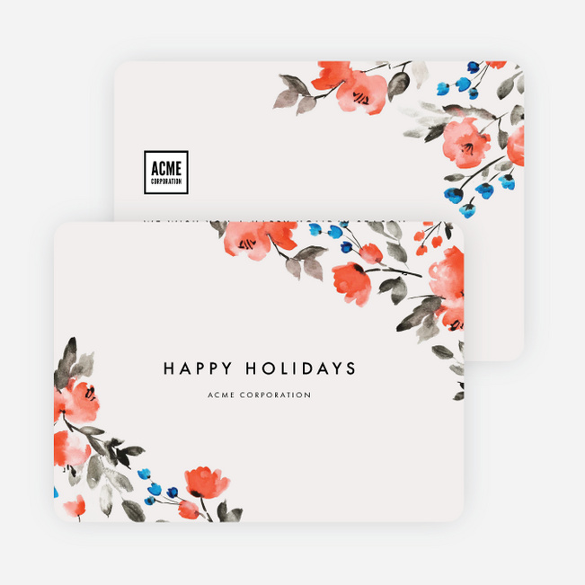 Floral Elegance Corporate Holiday Cards - Multi