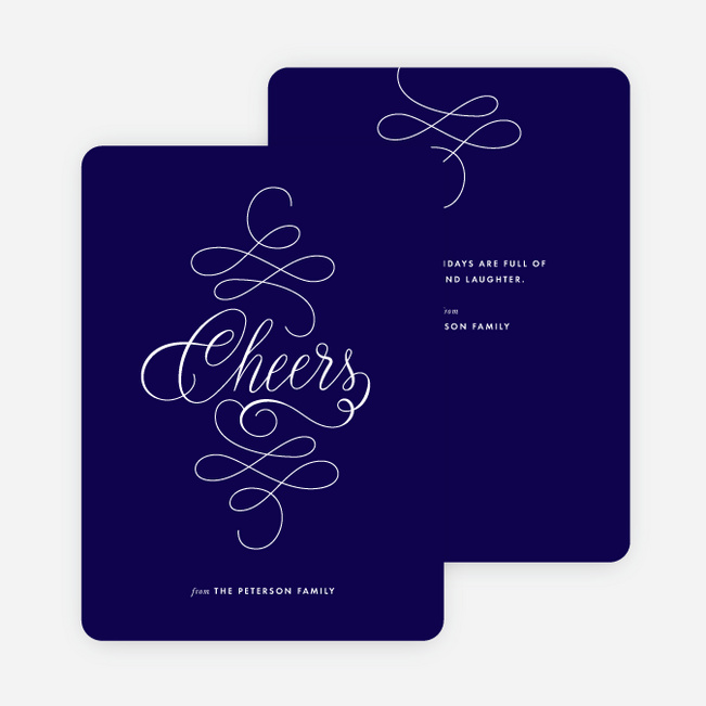 Flowing Words Holiday Cards - Blue