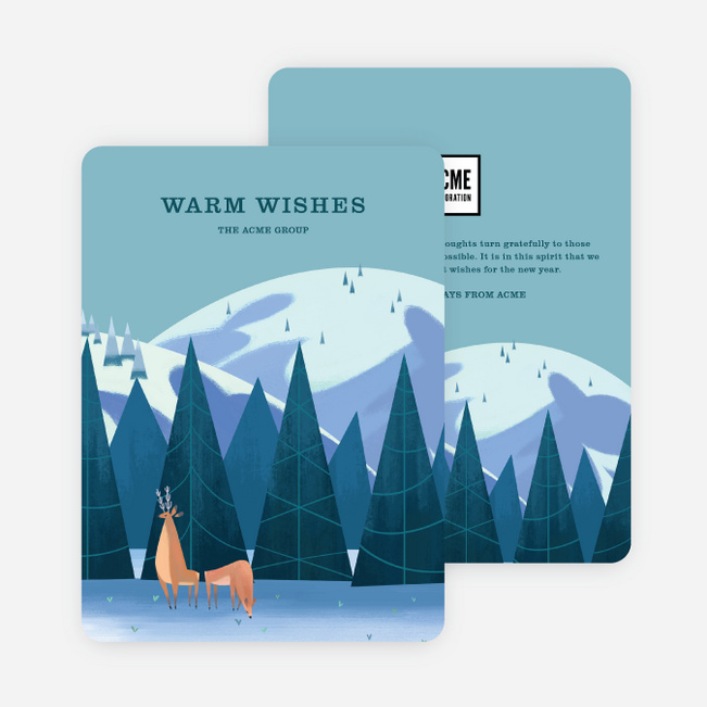 Wonderful Winter Corporate Holiday Cards - Blue