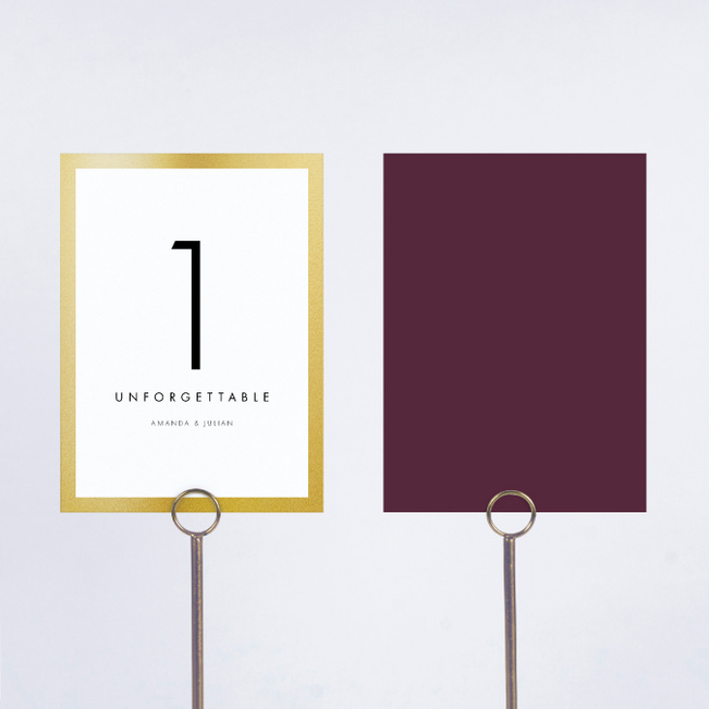 Wedding Frame of Mind Wedding Table Cards - Purple