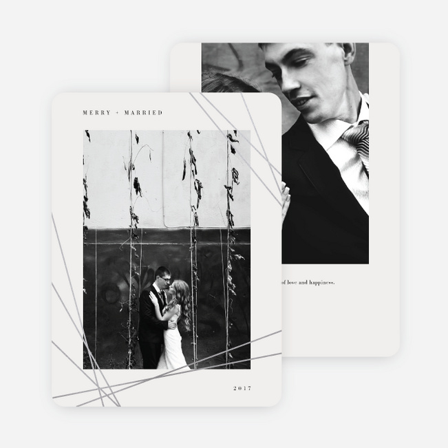 Foil Asymmetrical Frame Holiday Cards - Gray