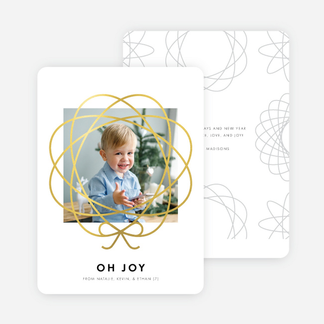 Foil Bow Frame Holiday Cards - Yellow