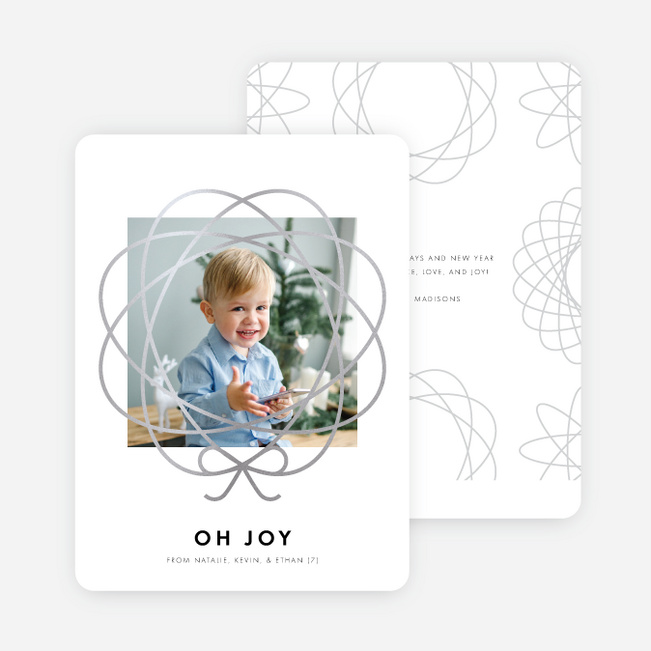 Foil Bow Frame Holiday Cards - Gray