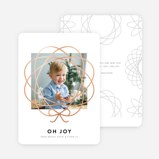 Foil Bow Frame Holiday Cards - Pink