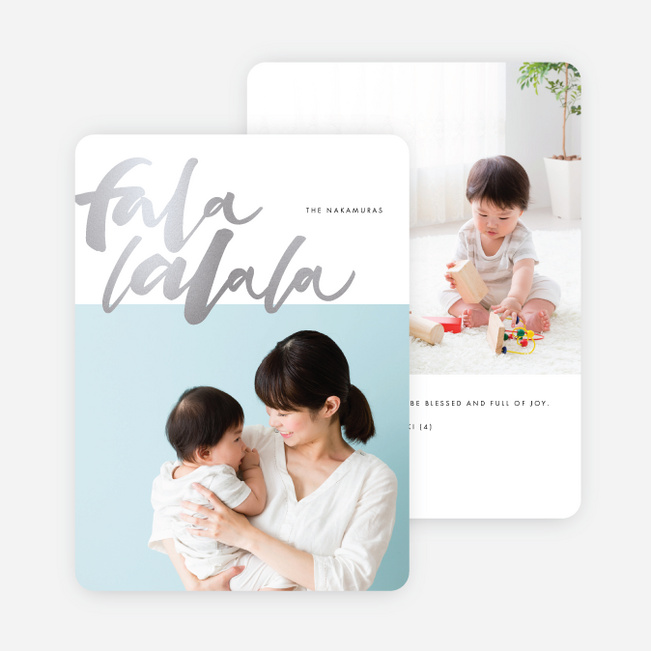 Foil Falala Christmas Cards - Gray