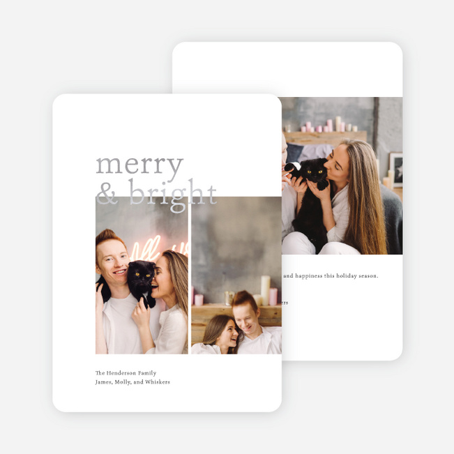 Foil Overlap Holiday Cards - Gray