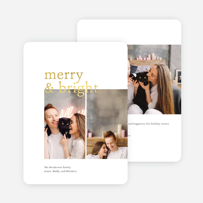 Foil Overlap Holiday Cards - Yellow