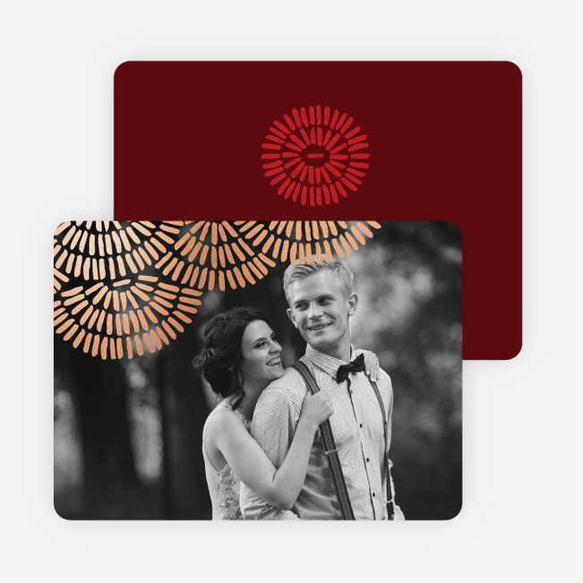 Foil Scallop Holiday Cards - Red