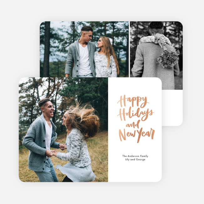 Side Message Holiday Cards - Pink