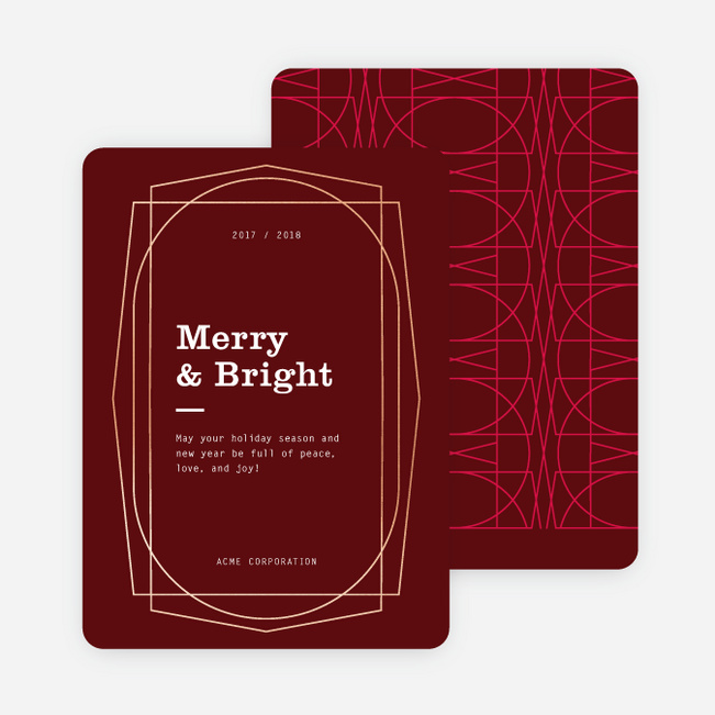 Modern Elements Company Holiday Cards - Red