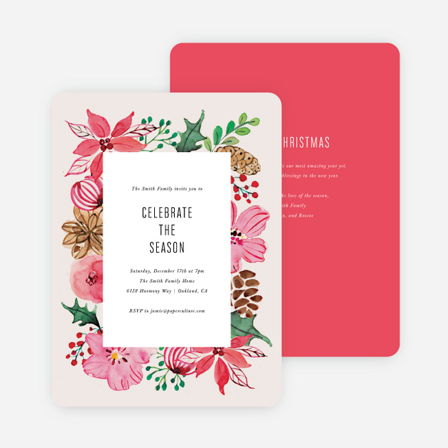 Floral Boundaries Holiday Cards - Pink
