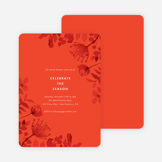 Simply Floral Holiday Cards - Red
