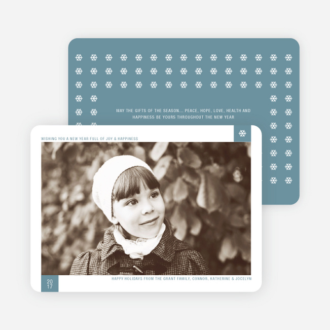 Classic Snowflake Holiday Photo Cards - Mystic Blue
