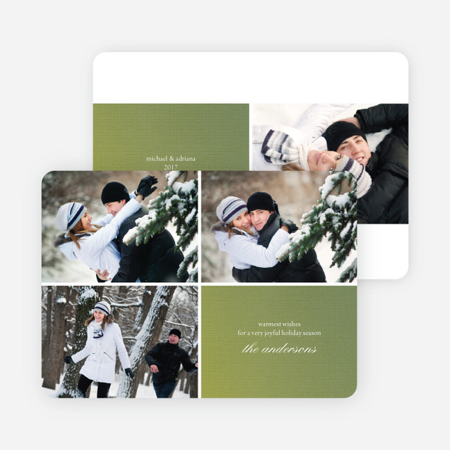 Fabric Circles Holiday Photo Cards - Keylime