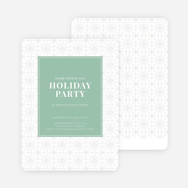 Festive Background Holiday Party Invitations - Green