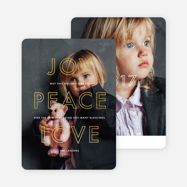 Foil Love Outlines Photo Holiday Cards - Yellow