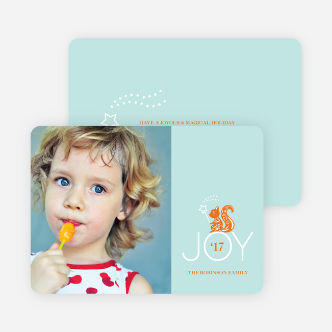 Magical Joy Holiday Photo Card - Pumpkin Orange