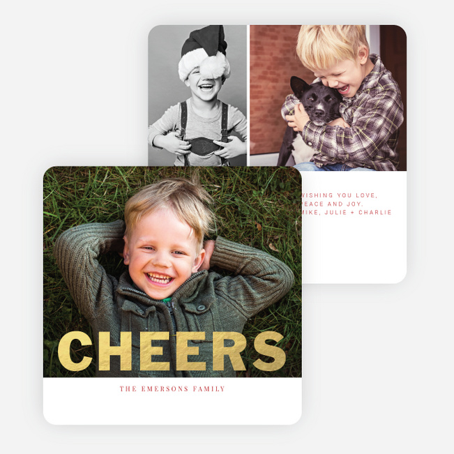 Modern Cheers Foil Holiday Photo Cards - Red