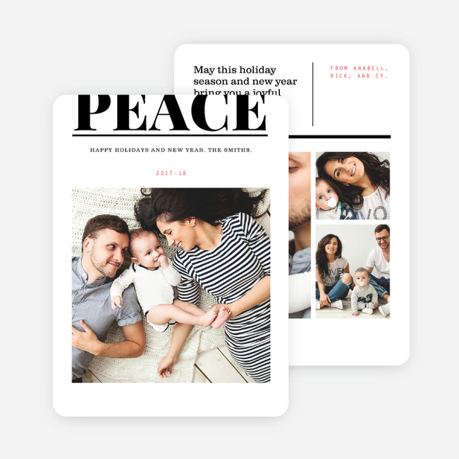 Peace Statement Holiday Cards - Black