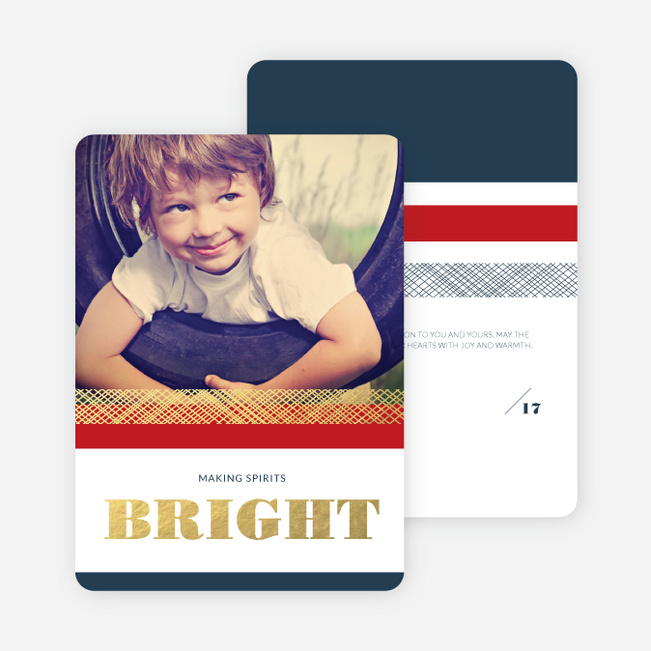 Making Spirits Bright Foil Christmas Card - Red