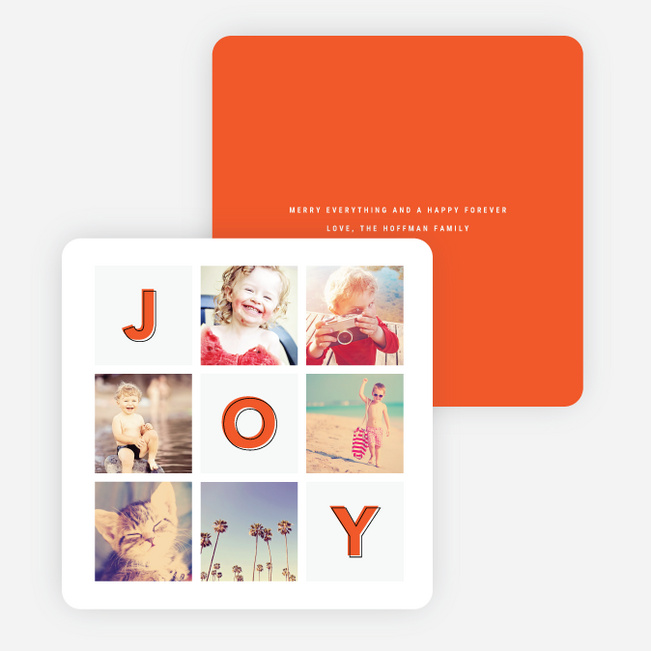 Square Joy Holiday Cards - Red