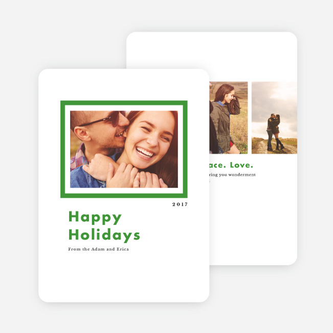 Bold Frame Holiday Cards - Green